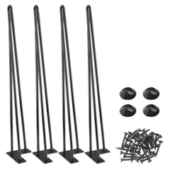 TheDIYOutlet 28 Inch Hairpin Legs, Set(4), 3-Rod, Black