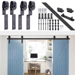 6.6' Bypass Sliding Single Track Barn Double Door Hardware Set