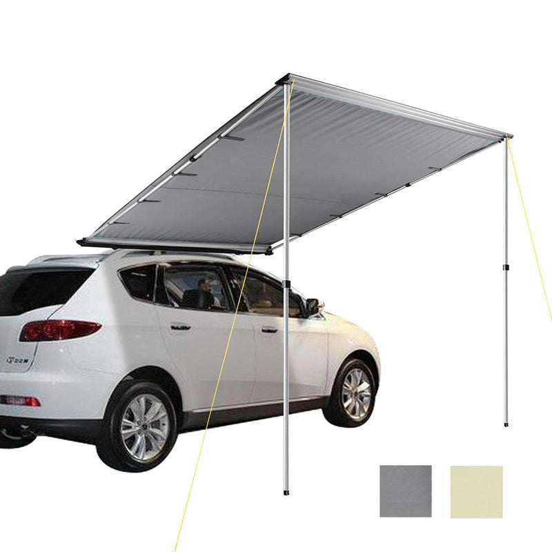 "TheDIYOutlet 6' 7""x8' 2"" Gray/Beige Retracted Car Rooftop Side Awning Shade"