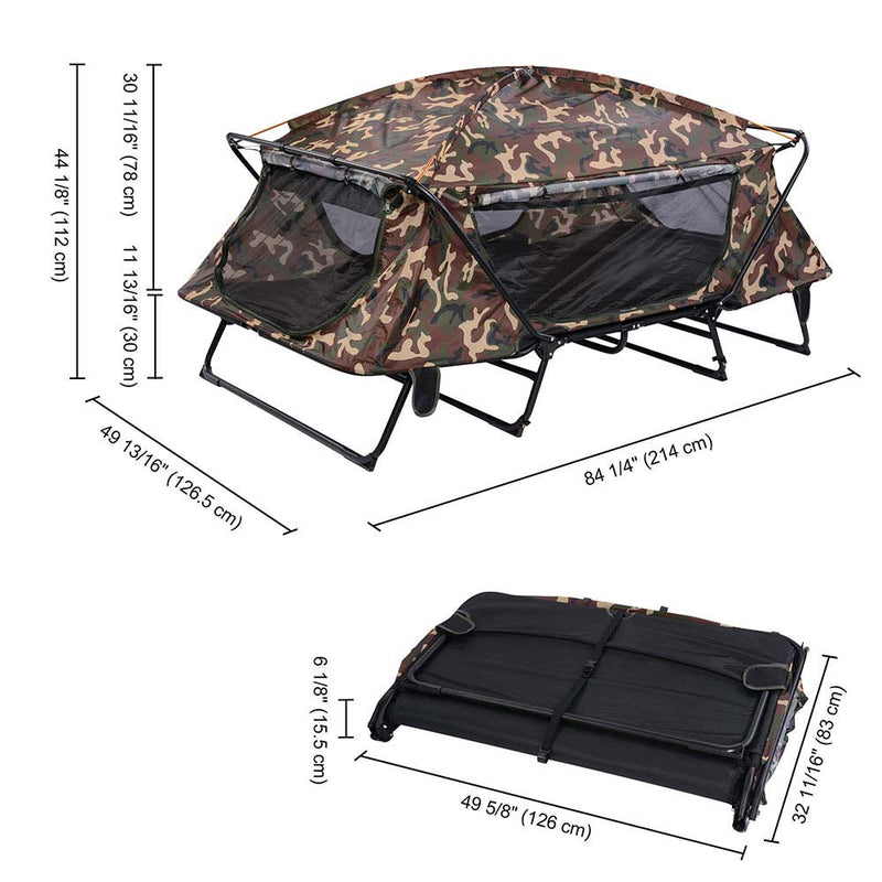 2-Person Cot Tent Camping Folding Off the Gound Tent with Fly 4-Legs