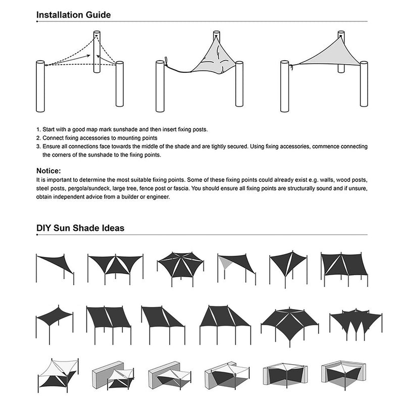 10' Square Outdoor And Patio Shade Color Options