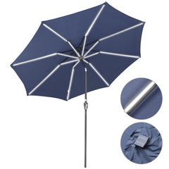 10 ft Lighted Patio Umbrella Solar Umbrella Tilt 8-Rib