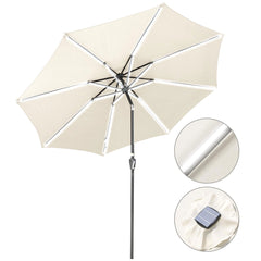 TheDIYOutlet 10 ft Lighted Patio Umbrella Solar Umbrella Tilt 8-Rib