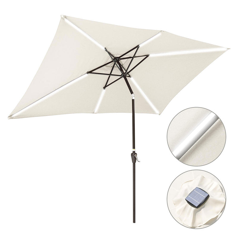 TheDIYOutlet 10x6ft Rectangular Patio Umbrella Tilt Solar Table Umbrella 6-Rib