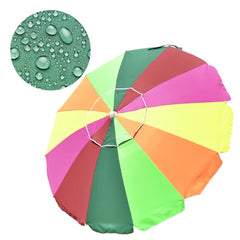 6 ft 12-Rib Rainbow Beach Umbrella Tilt & Built-in Sand Anchor