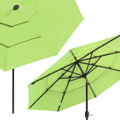 9 Foot Tilting Patio Umbrella with Light 3-Tiered