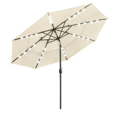 10 Foot Tilting Patio Umbrella with Light 3-Tiered