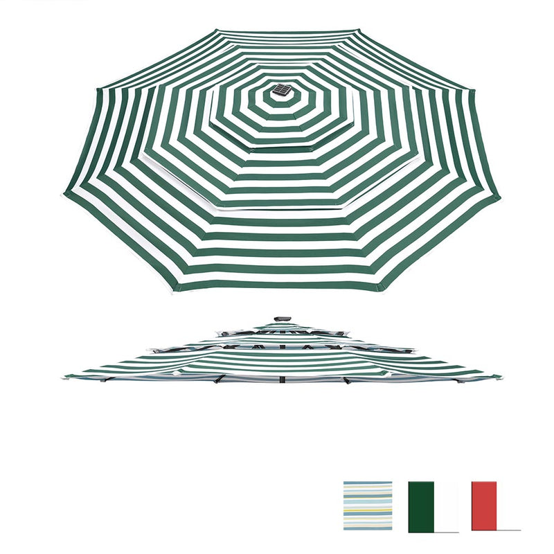 9 ft Patio Umbrella Replacement Canopy 8-Rib 3-Tiered