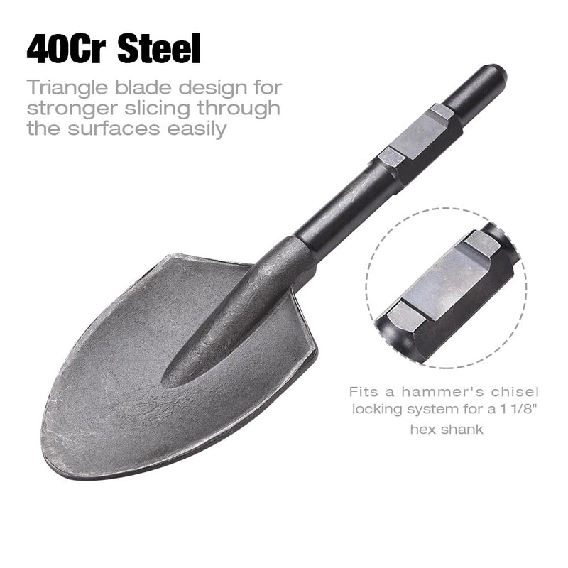 Dirt Scoop Electric Jackhammer Pointed Shovel 1-1/8 in. Hex Steel