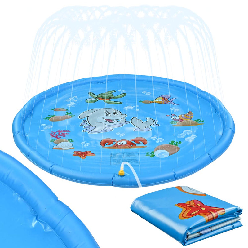 Inflatable Splash Pad Sprinkler Wading Pool for Kids 67""