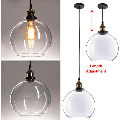 DIY Industrial Pendant Light Glass Global Shade 9 4/5 in