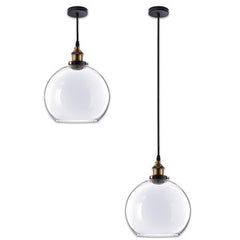 Industrial Pendant Light Glass Global Shade 9 4/5 in
