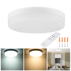 Round Ceiling Light Flush Mount Dimmable w/ Remote 36W 12in