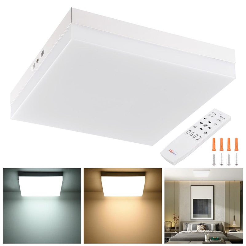 TheDIYOutlet Square LED Ceiling Light Flush Mount Dimmable w/ Remote 36W