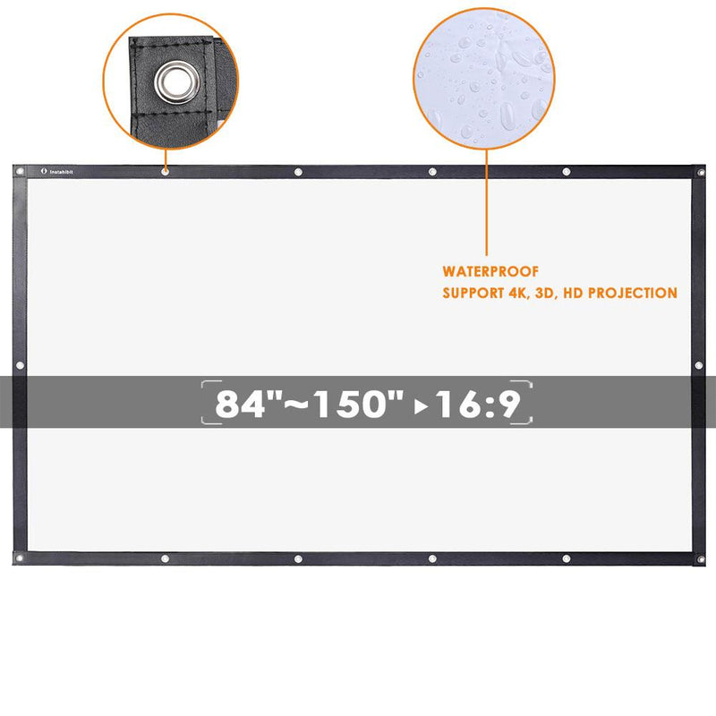 "TheDIYOutlet DIY Projector Screen Movie TV Home Theater PVC Leather 84""-150"" 16:9 (Preorder)"