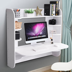 TheDIYOutlet Wall Mounted Floating Desk Computer Desk w/ Shelves 43