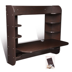 Wall Mounted Floating Desk Computer Desk w/ Shelves 43