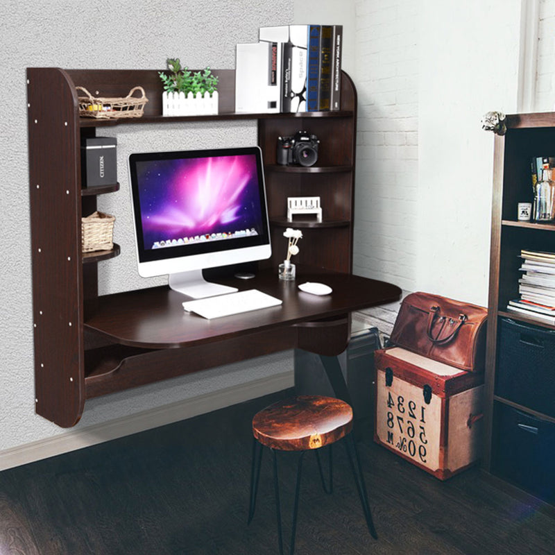 "Wall Mounted Floating Desk Computer Desk w/ Shelves 43""x22""x40"""