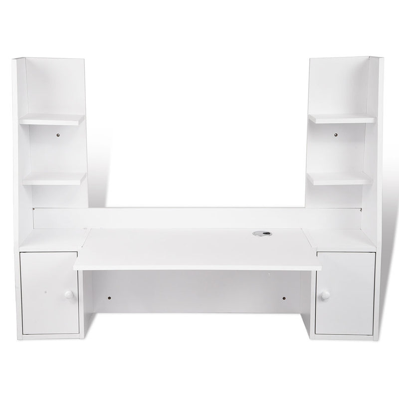 TheDIYOutlet Wall Mounted Floating Computer Desk w/ Shelves Cabinet 47x17x36