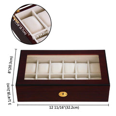 TheDIYOutlet Watch Box Glass Watch Case Wooden