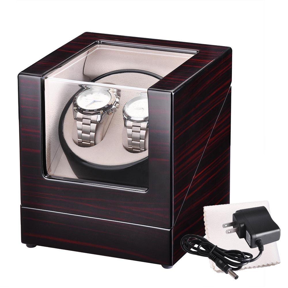 Wooden Watch Winder Automatic Display Case 2 Watches
