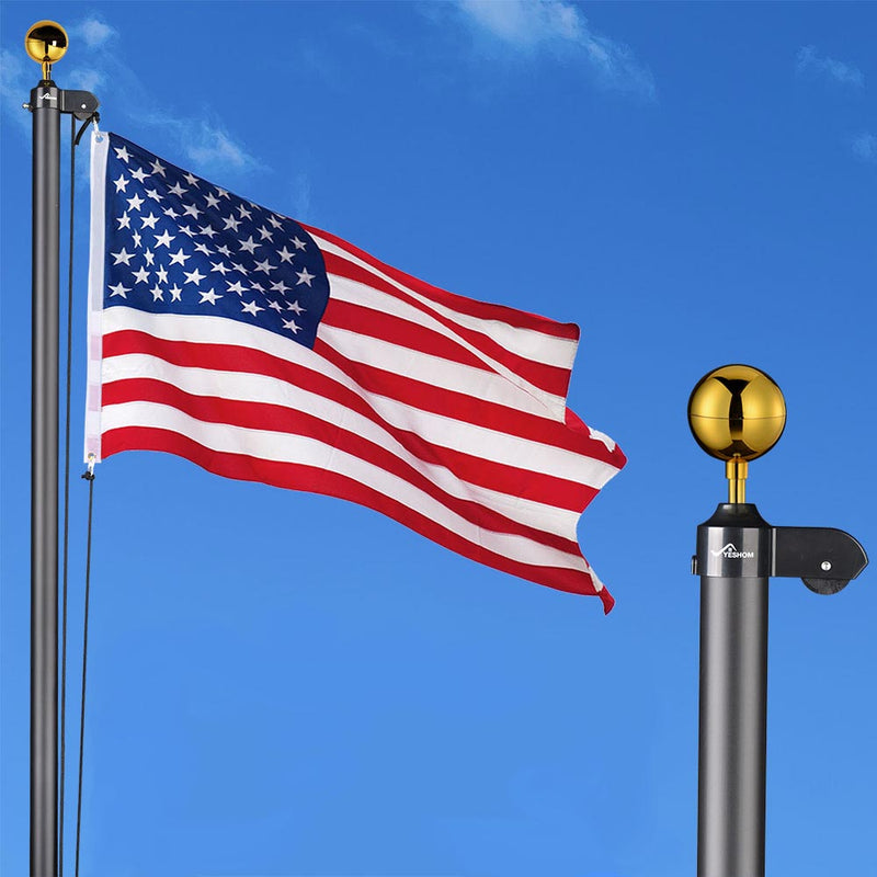 30 ft Aluminum Sectional Flagpole Kit with American Flag
