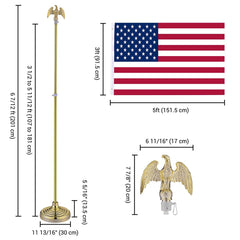 Set(2) 6ft Indoor Flag Poles with Stand (Ball Eagle Optional)