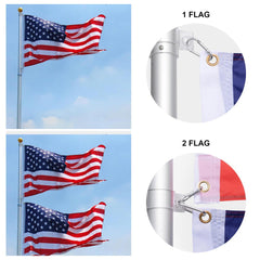 30 ft Aluminum Telescoping Flag Pole Kit with Tailgating