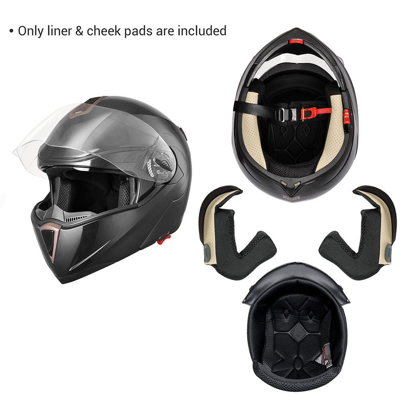 Motorcycle Helmet Liner and Cheek Pads for AHR RUN-M