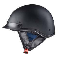 1/2 Open Face Motorcycle Helmet DOT Matt Black S M L XL Opt
