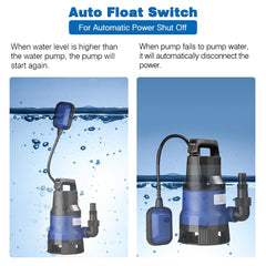 TheDIYOutlet 1/2HP Submersible Dirty Water Pump w/ Float 400w