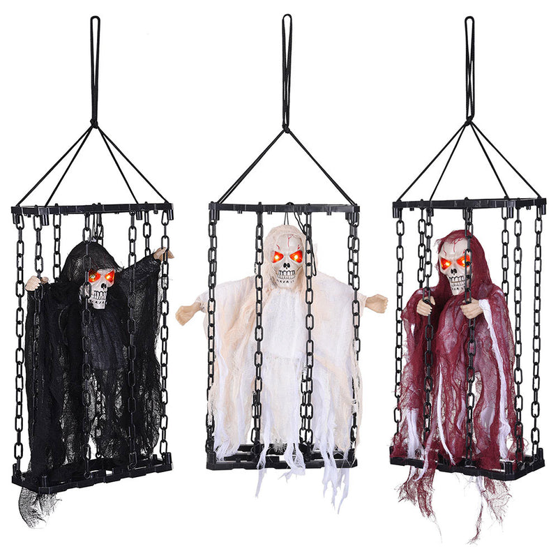 DIY Halloween Prop 3pcs Caged Animated Skeletons