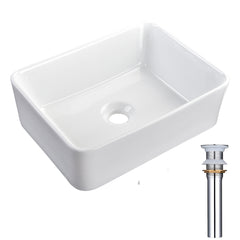 Aquaterior Rectangular Bathroom Vessel Sink wth Drain & Tray 16