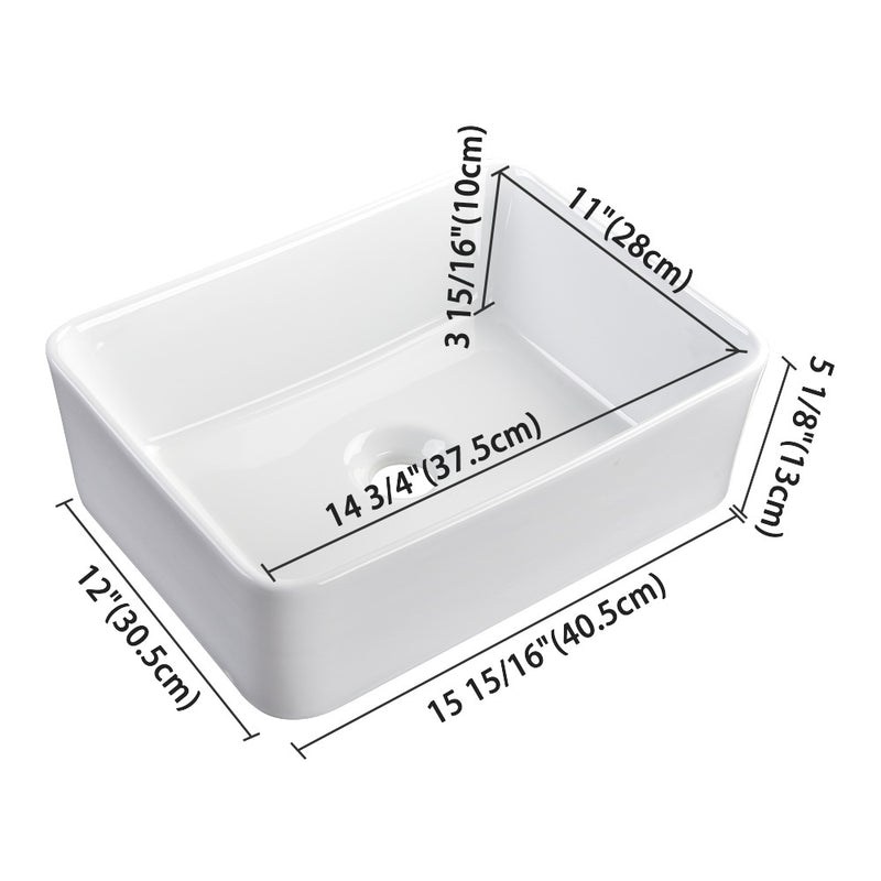"Aquaterior Rectangular Bathroom Vessel Sink wth Drain & Tray 16""x12"""