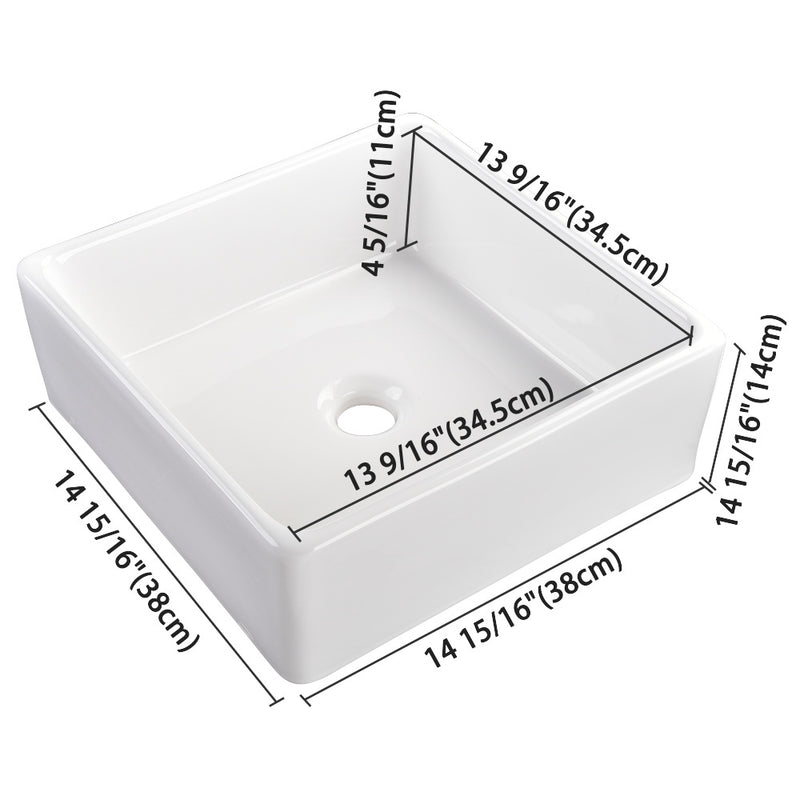 "Aquaterior Square Bathroom Vessel Sink wth Drain & Tray 15""x15"""