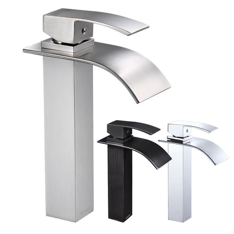 "Aquaterior Vessel Faucet Waterfall Single-Hole 10""H"