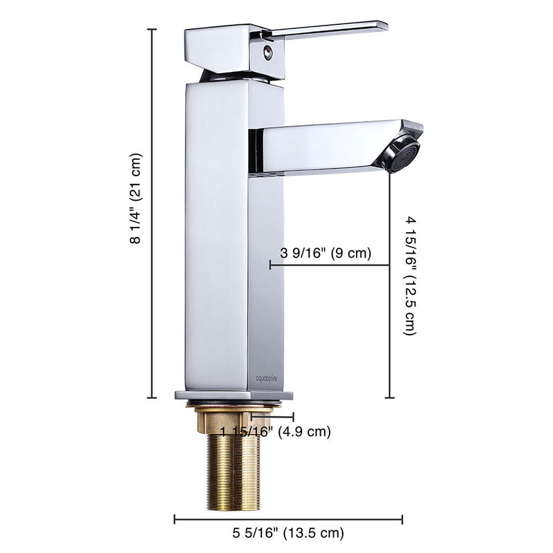 "Aquaterior Bathroom Faucet Single-Hole Square 8""H"