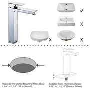 "Aquaterior Vessel Sink Faucet Single-Hole 10.4""H Square"