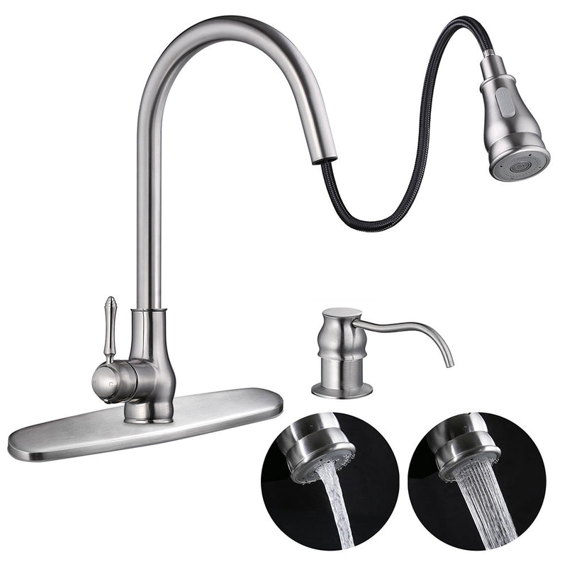 Aquaterior Swivel Spout Pulldown Kitchen Faucet Single Handle Brushed Nickel