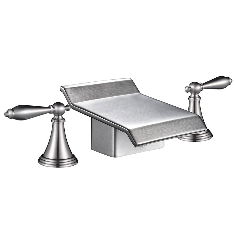 2-Handle Waterfall Faucet Bathroom Bathtub Brushed Nickel