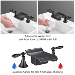 2-Handle Waterfall Bathroom Bathtub Faucet Oil Rubbed Bronze
