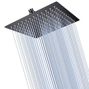 TheDIYOutlet Black Rain Shower Head Square Stainless Steel 10""