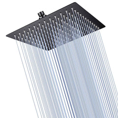 TheDIYOutlet Black Rain Shower Head Square Stainless Steel 10