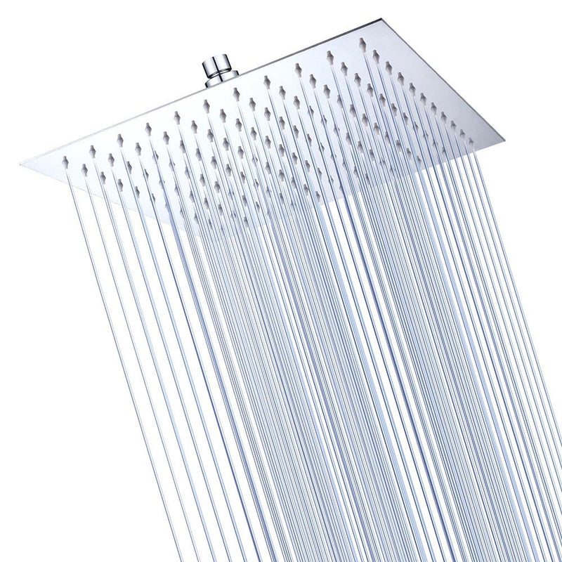 "Large Rainfall Shower Head Square Stainless Steel 12"" (Preorder)"
