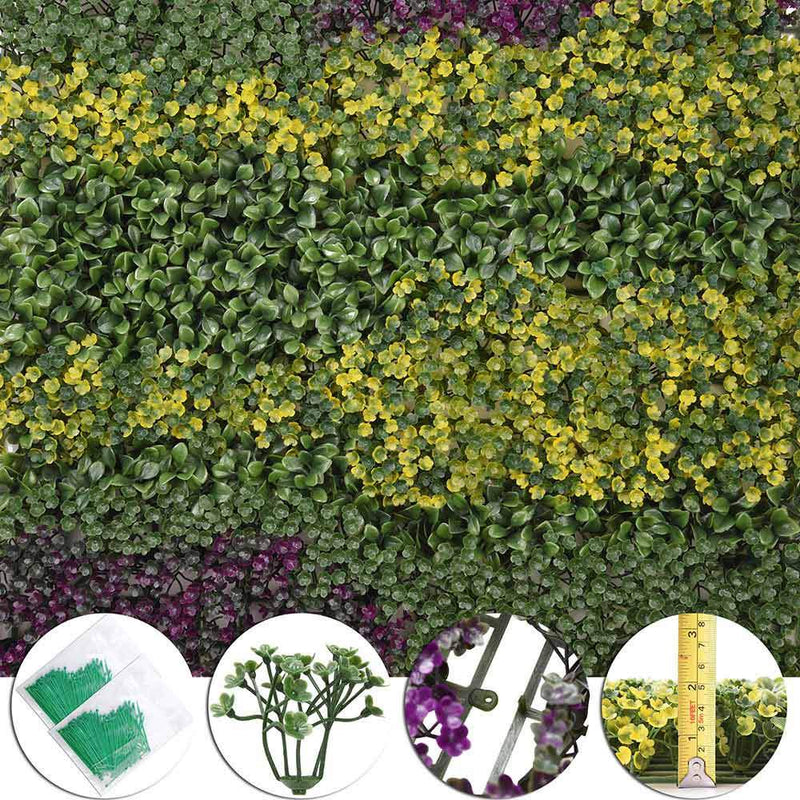TheDIYOutlet 12pcs 20x20 inch Artificial Boxwood Hedge Purple/Green