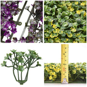 12pcs 20x20 inch Artificial Boxwood Hedge Purple/Green