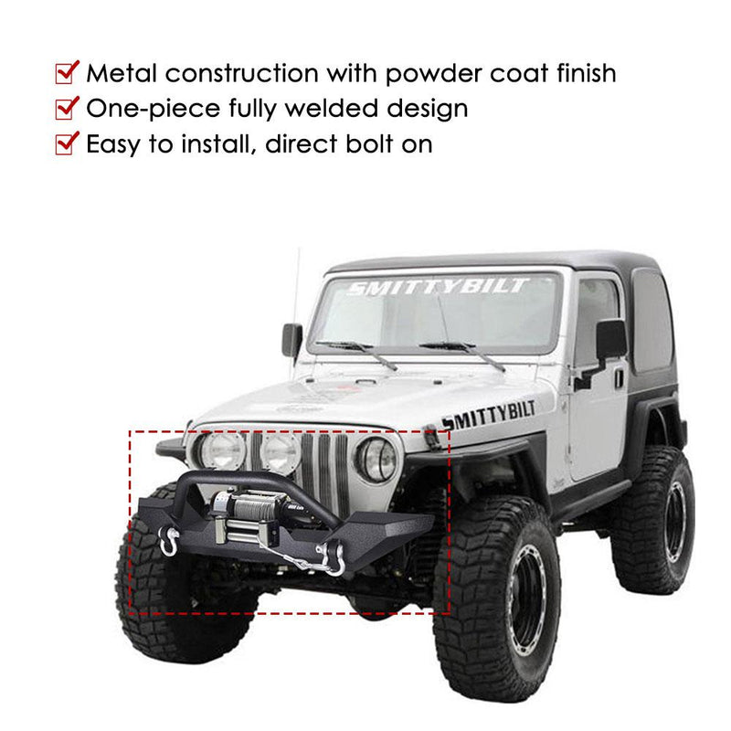 TheDIYOutlet Front Bumper w/ Winch Plate D-Rings for Jeep Wrangler YJ TJ 86-06