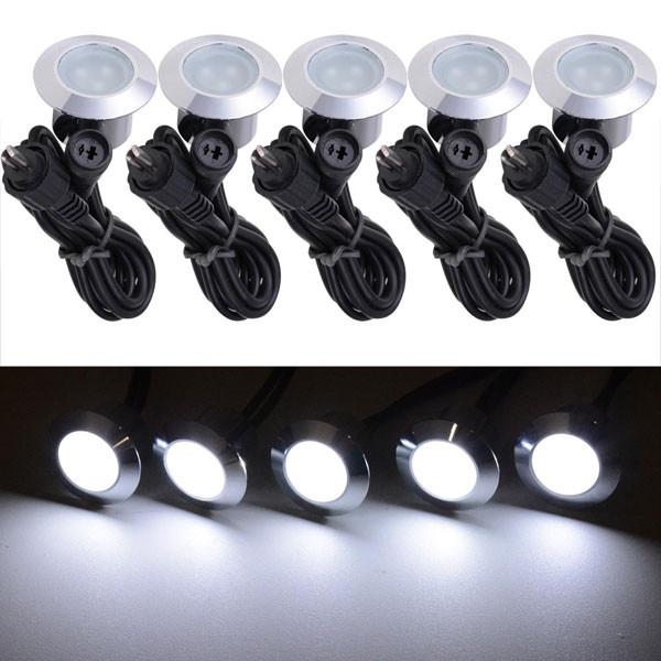 TheDIYOutlet 5 Pack 12V Round Recessed Deck Step Light Cool White