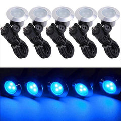 TheDIYOutlet 5 Pack 12V Round Recessed Deck Step Light Blue