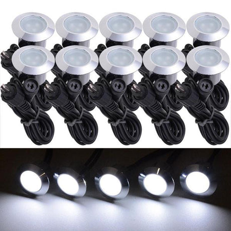 10 Pack Round Recessed Deck Step Light Cool White